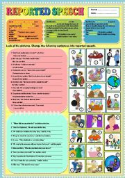 English Worksheets: Reported speech + KEY