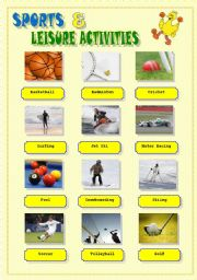 sports and leisure activities (to print and stick on the classroom walls)