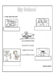english worksheets my school. Black Bedroom Furniture Sets. Home Design Ideas