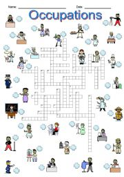 English Worksheet: Occupations Crossword