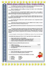 English Worksheet: ADDICTIONS : MOBILE ADDICTION