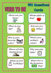 English Worksheets: Verb to be WH question cards