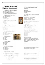 movie - night at the museum 1 - ESL worksheet by luma10