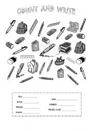 English Worksheet: count the school objects and then write the numbers