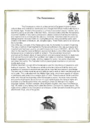 English Worksheet: The Renaissance