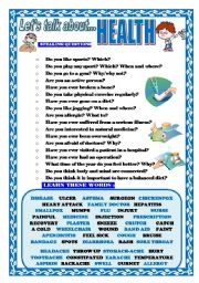English Worksheet: LET´S TALK ABOUT HEALTH (SPEAKING SERIES 12)