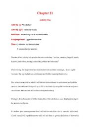 English worksheet: An activity for the book The Giver