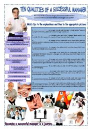 English Worksheet: TEN QUALITIES OF A SUCCESSFUL MANAGER (2 pages with answers)