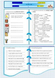 English Worksheet: MUCH MANY & ALOT OF