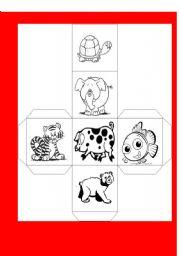 English Worksheets: animals dado