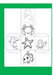 English Worksheets: sea animal dado