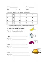 English worksheet: Buying things