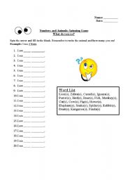 English Worksheets: Fill in the blanks with how many animals you see
