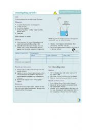 English Worksheets: Investigating particles