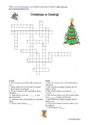English worksheets Christmas is Coming Crossword Puzzle