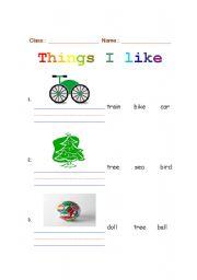 English Worksheets: Things I like