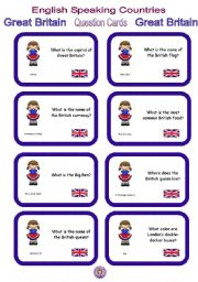 English Worksheet: English Speaking Countries - Question cards 5 - Great Britain