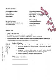 English Worksheet: Haiku Poems