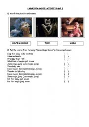 English Worksheets: Labyrinth movie activity part II