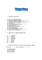 English Worksheets: Tag Questions Activity