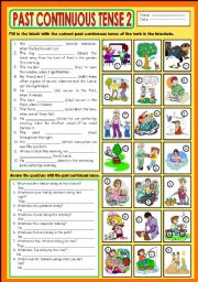 English Worksheet: The Past Continuous Tense 2 +KEY