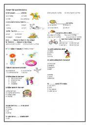 English Worksheets: worksheet for elementary- level Ss