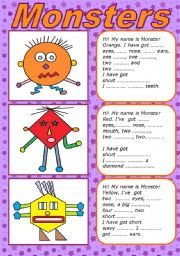 English Worksheet: MONSTERS - BODY PARTS  (editable)