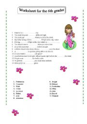 English Worksheets: worksheet for the 6th grades- two pages