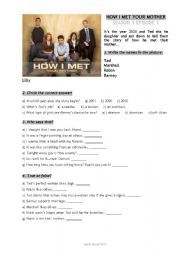 English Worksheet: HOW I MET YOUR MOTHER  TV series s01e01 worsheet