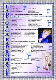 LADY GAGA Bad Romance LISTENING song-based activity (FULLY EDITABLE AND KEY INCLUDED!!!)