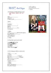 English Worksheet: ALICE, Avril Lavigne