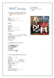 English Worksheet: ALICE, Avril Lavigne