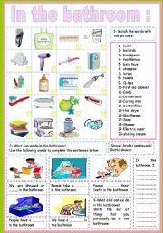 English Worksheet: in the bathroom