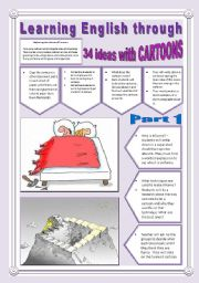 English Worksheet: 34 NEW IDEAS TO WORK WITH CARTOONS - (5 Pages - Part 1 of 2) -> Learning English Through Cartoons + Exercises + Writing Extra Activities & searched Links are into the file