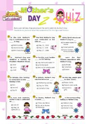 English Worksheet: Happy Mother´s Day Quiz (3)