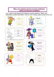 English Worksheets: cards for practicing, nationalities, age, describing people, present continuous, etc
