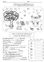 English Worksheet: Prepositions - In the Garden