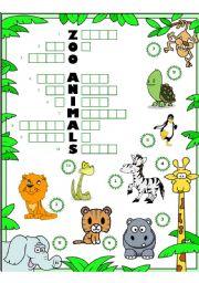 English Worksheets: ZOO ANIMALS ACROSTIC