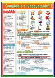 English Worksheets: Countable or Uncountable? I (1/2)