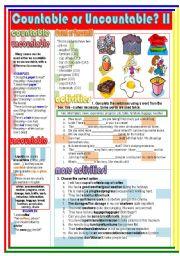 English Worksheets: Countable or Uncountable? II (2/2)