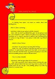 English Worksheets: holiday plans