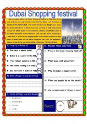 English Worksheets: Reading comprehension test. (The Dubai shopping Festival)
