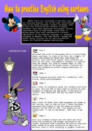 English worksheet: how to practice English using cartoons