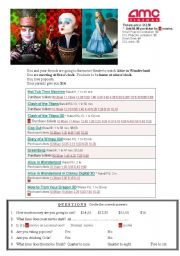 English Worksheet: MOVIE THEATRE SCHEDULE TELLING TIME ALICE IN WONDERLAND