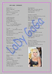 English Worksheets: Lady Gaga - Paparazzi Lyrics
