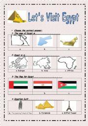 English Worksheet: Let�s Visit Egypt ( 2 pages )