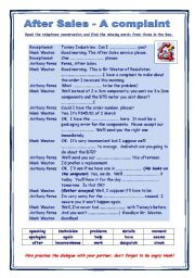 English Worksheet: Telephone conversation - After sales - a complaint