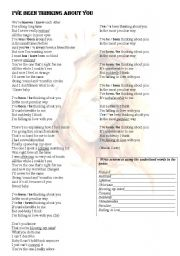 English Worksheet: I�ve been thinking about you (Mariah Carey)