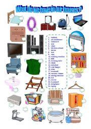 English Worksheet: Household Pictionary
