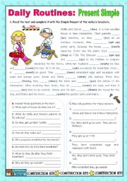English Worksheet: Daily Routines -  Simple Present  -  Context :  School Break